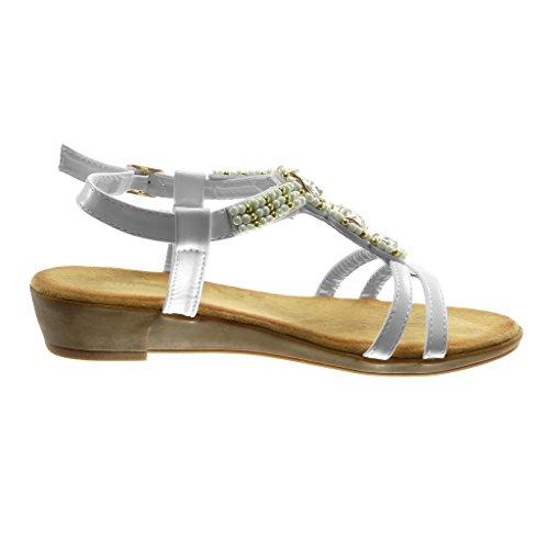 Angkorly Zapatillas Moda Sandalias Correa de Tobillo Correa Mujer Strass Perla Dorado Plataforma 3.5 cm Blanco