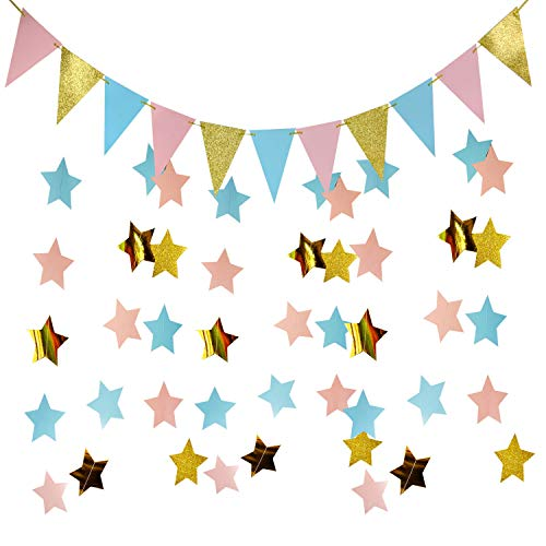 Furuix Gender Reveal Party Decorations 2pcs Twinkle, Twinkle Pink Blue Gold Paper Star Garlands with 1 Pack of Triangle Banner for Baby Shower Decorations/Boy or Girl Gender Reveal Party Supplies -