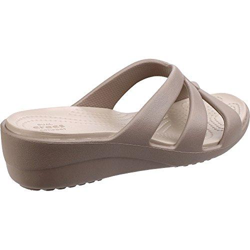 crocs Damen Snrhstrappywdg Offene Sandalen mit Keilabsatz Mushroom