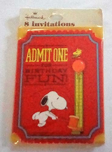 Vintage 1970's Hallmark Peanuts Snoopy - Die Cut Birthday Party Invitations