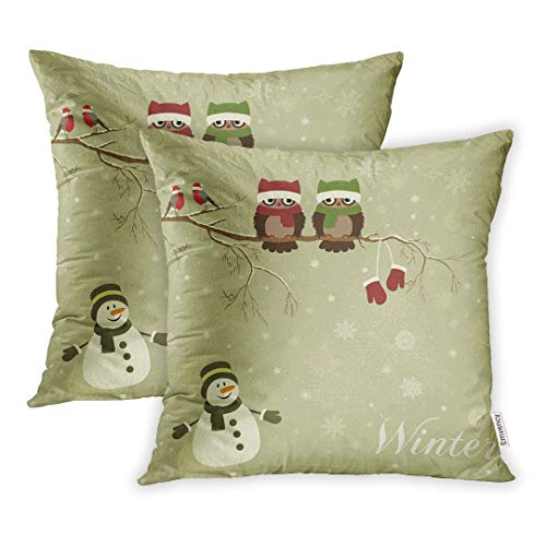 Emvency Blue Owl Christmas Branch Birds in Vintage Pattern Snowman Winter Holiday Throw Pillow Covers Cover Set of 2 16x16 Inch Two Side Pillowcase Cases Case