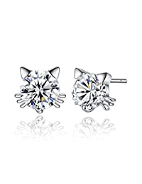 Spiritlele Crystal Stud Earrings Silver Geometric Cat AAA Cubic Zirconia Piercing Earring for Women