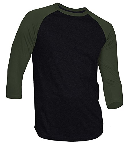Sleeve Crewneck Tee 3/4 (DREAM USA Men's Casual 3/4 Sleeve Baseball Tshirt Raglan Jersey Shirt Black/HuntGrn 3XL)