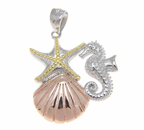 925 Sterling silver yellow rose gold tricolor plated Hawaiian sealife starfish seahorse sunrise shell pendant