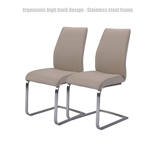 Kmart High Chairs (Ergonomic High Back Design Dining Chairs Leather Accent Durable Stainless Steel Frame High Density Padded Cushion Home Office Furniture - Set of 2 Grey/1259)