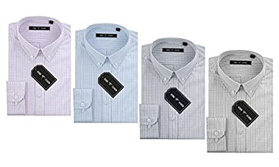 Verno Fashion Men's Slim Fit Long Sleeve Plaid Dress Shirt--The Most Popular Colors