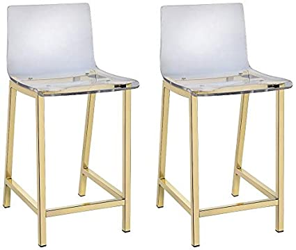 Outstanding Amazon Com Tasker 24 Gold And Acrylic Counter Stool Set Of Short Links Chair Design For Home Short Linksinfo