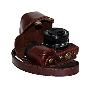 Dengpin Protective Leather Camera Case with Shoulder Strap for Sony NEX-6 16-50mm Electric Motors Lens (Dark Brown)