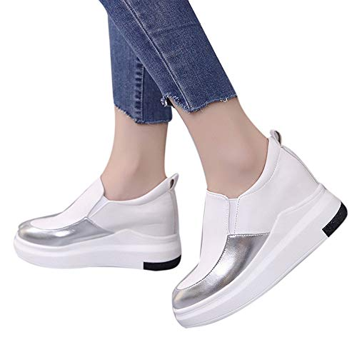 Memela Clearance Sale!! Women Wedges Platforms Round Inside Heighten Slip-On Pumps Casual Thick Shoes (White, 6 M US)