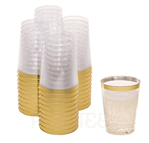 DRINKET Gold Plastic Cups 10 oz Clear Plastic Cups / Tumblers Fancy Plastic Wedding Cups With Gold Rim 50 Ct Disposable For Party Holiday and Occasions SUPER VALUE PACK (Wedding Plastic Tableware)