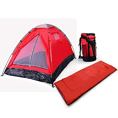 3 Piece 1-Person Red Camping Gear Set Outdoor Tent: Garden & Outdoor