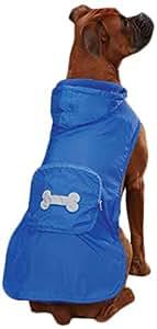 "Casual Canine Fleece-Lined Stowaway Rain Jacket for Dogs, 10"" XS, Blue"