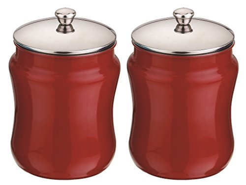 Mushroom Canister Set - Kitchen Kemistry, Convex Stainless Steel with Mushroom Lid Set, 2 Pieces, Vermilion Red