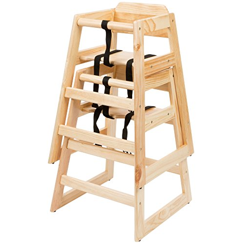 Kid Cafe Furniture: Natural Wood High Chair For Babies, Classic Toddlers Hi