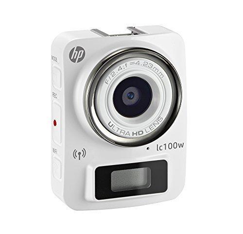 HP lc100w Full HD 1080p, 4k Time Lapse, Mini WiFi Water Resistant Camera /w Waterproof Case (White)