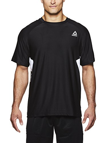Reebok Men's Supersonic Crewneck Workout T-Shirt Designed with Performance Material - Black - Pace Hybrid, Small (T-shirt Top Tank Reebok)