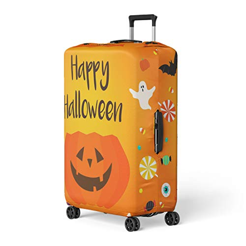Pinbeam Luggage Cover Colorful Happy Halloween Candies Pumpkin Bucket on Orange Travel Suitcase Cover Protector Baggage Case Fits 18-22 inches]()