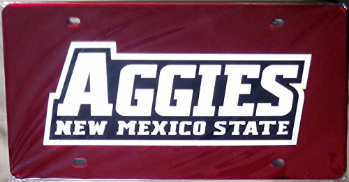 Football Fanatics New Mexico State Aggies RED SD78983 Deluxe Laser Cut License Plate Tag University of