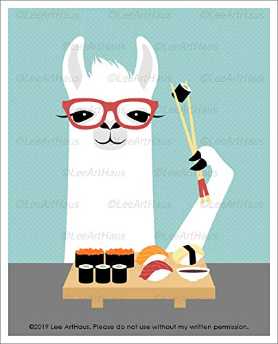 - 42J - White Llama with Red Glasses Eating Sushi UNFRAMED Wall Art Print by Lee ArtHaus
