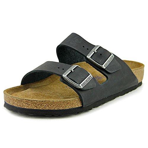 Birkenstock Unisex Arizona Black Oiled Leather Sandals - 9-9.5 B(M) US Women/7-7.5 D(M) US Men (Arizona Mills Shops)