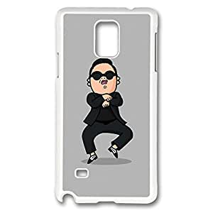 Galaxy Note 4 Case, Creativity Design Psy Gangnam Style Print Pattern Perfection Case [Anti-Slip Feature] [Perfect Slim Fit] Plastic Case Hard White Covers for Samsung Galaxy Note 4