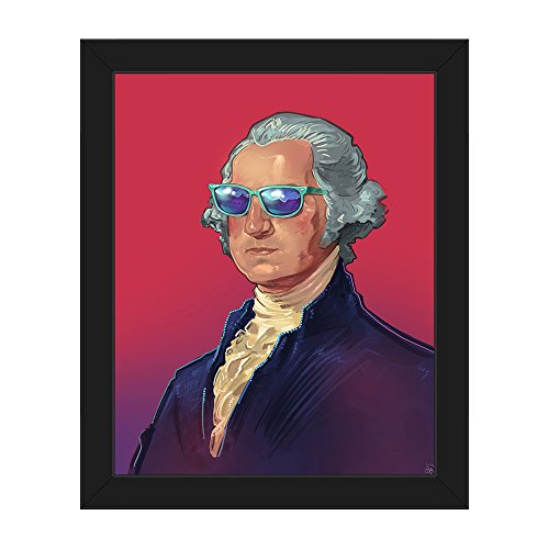 Funky Washington: Cool Modern Portrait Painting Illustration of George Washington in Blue Sunshades Sunglasses on Pin & Purple Wall Art Print on Canvas with Black - Sunglass George