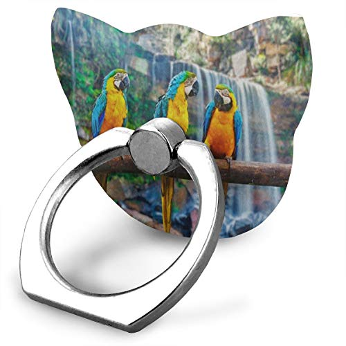 (Phone Stand Blue Yellow Macaw Parrot Waterfall Landscape Cat Type Ring Mobile Phone Holder Adjustable Finger Grip Holder for IPad Phone X/6/6s/7/8/8 Plus/7, Galaxy S9/S9 Plus/S8/S7 Smartphone)