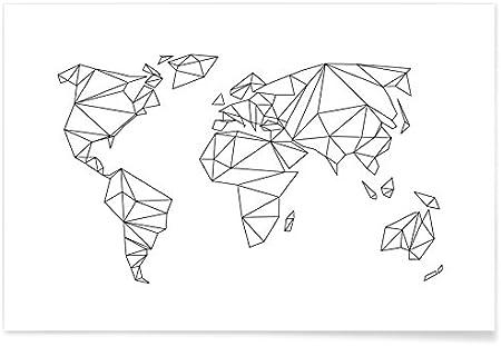 carte du monde en noir et blanc JUNIQE® Affiche 20x30cm Noir & blanc Cartes du monde   Design