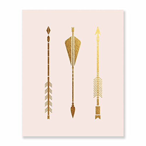 Three Arrows Gold Foil Pink Print Tribal Aztec Bohemian Boho Chic Decor Metallic Pink Poster Modern Wall Art 8 inches x 10 inches B14 (Arrow Gold Wall Art)