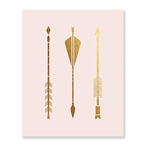 Three Arrows Gold Foil Pink Print Tribal Aztec Bohemian Boho Chic Decor Metallic Pink Poster Modern Wall Art 8 inches x 10 inches B14 (Wall Arrow Art Gold)