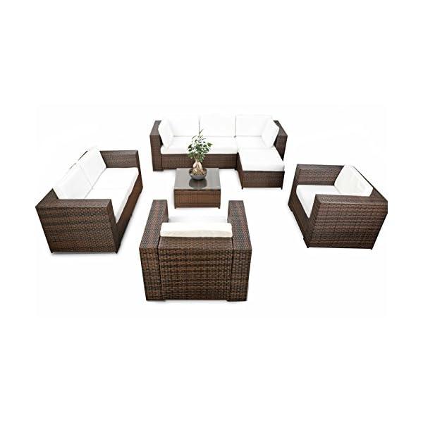 LD, mobili da giardino in polyrattan, mobili lounge, sgabello, tavolo, poltrona, divano 1 spesavip