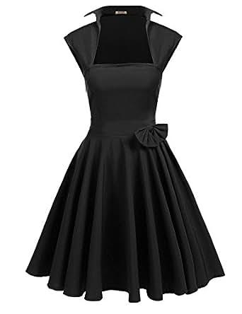ACEVOG Women's Vintage 50s Style Square Collar Sleeveless Solid Swing Tea Dress
