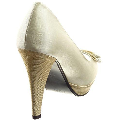 Sopily - damen Mode Schuhe Pumpe Plateauschuhe glänzende Strass - Gold