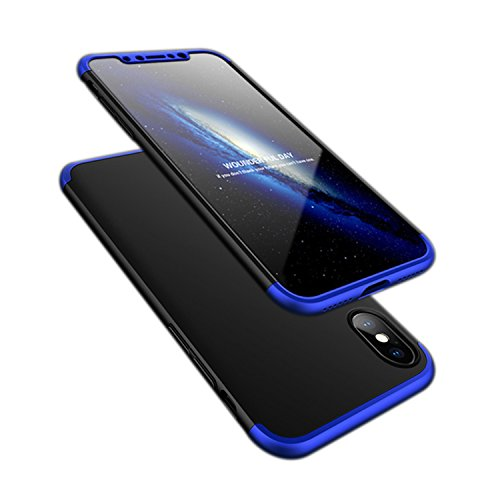 iPhone X case, ATRAING A Trading Ultra-Thin PC Hard Case Cover for Apple iPhone X (Blue+Black+Blue)