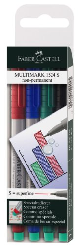 Faber-Castell 152404 - Marker MULTIMARK non-permanent, Stärke: S, 4er Etui, Inhalt: je 1x rot, blau, grün, schwarz