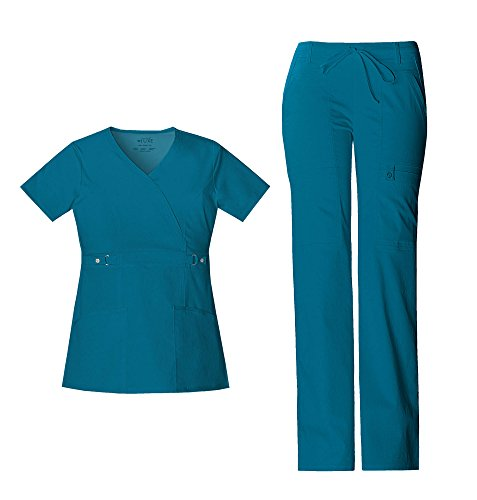 Cherokee Luxe Women's Empire Waist Mock Wrap Top 21701 & Women's Drawstring Cargo Pant 21100 Scrub Set (Caribbean Blue - Medium/Medium Petite) (Wrap Mock Luxe)