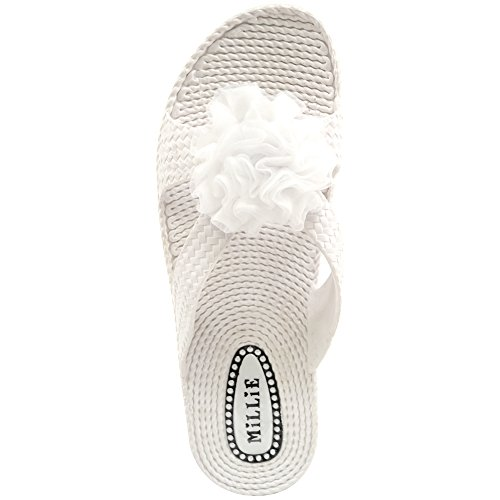 Ladies / Womens Summer / Holiday / Beach Millie Flower Sandals / Shoes / Flip Flops White FvTaL