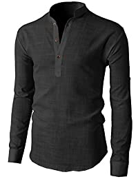 H2H Mens Casual Slim Fit Basic Designed Roll-up Sleeve Popover Henley Shirts