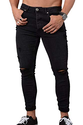 Solid Slim Jeans Destroyed In Uomo Nero Semplice Nnen Stile Fit Holes Stretch Lunghi Denim Pantaloni 1SS5nWwx