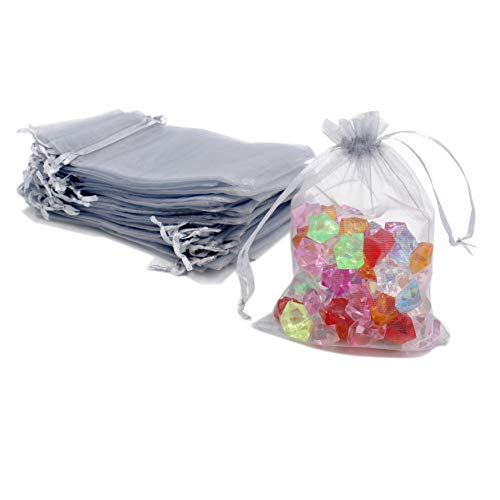 (ATCG 100pcs 5x7 Inches Drawstring Organza Pouches Wedding Party Favor Gift Candy Bags (SILVER))