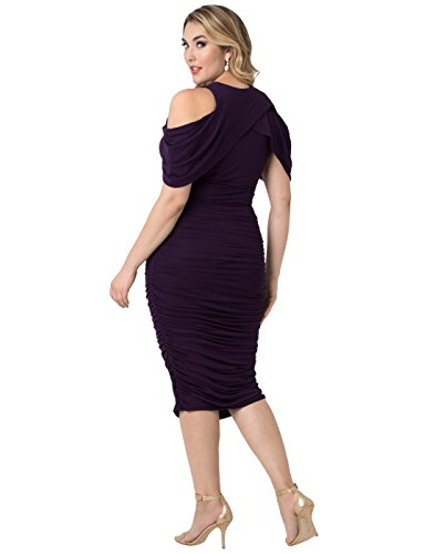 Kiyonna Women's Plus Size Bianca Ruched Dress 2X Plum