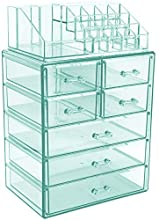Sorbus Cosmetic Makeup and Jewelry Storage Case Display - Spacious Design - Great for Bathroom, Dresser, Vanity and Countertop (3 Large, 4 Small Drawers, Teal Thrill)