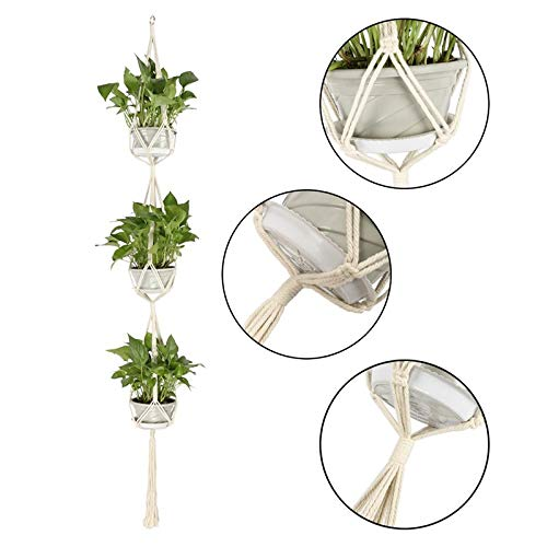 Lovhome Plant Hanger Three Layers Macrame Cotton Hanging Planters 2 Pack Mother Day for Indoor Outdoor Home Decoration