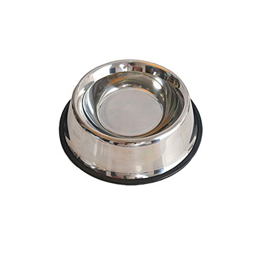 Eudally Stainless Steel Non-Skid/Non-Tip Embossed Pet Bowl, Anti-Corrosion, Rust-Resistance,Dishwasher-Safe (M)