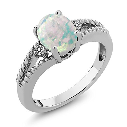 Silver Cabochon Ring (0.65 Ct Oval Cabochon White Simulated Opal White Diamond 925 Silver Ring)