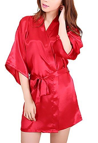 V Accappatoio Camicia Vestaglie Con Rosso Tinta Donna Estate Unita Corto Da Unique Classiche Vestaglia Kimono Cintura Elegante Notte Scollo Pigiama pv5wq6
