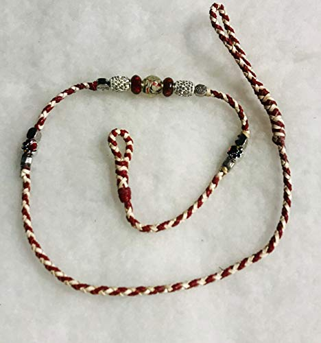 White and Red 3 ft Kangaroo Leather Dog Show Loop Lead with Beads