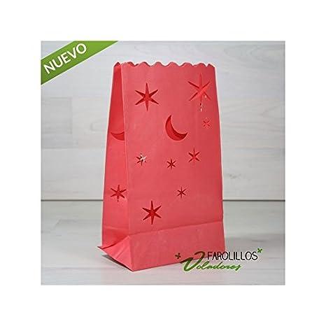 Pack 10 bolsas de luz lunas y estrellas. Rojas.: Amazon.es ...