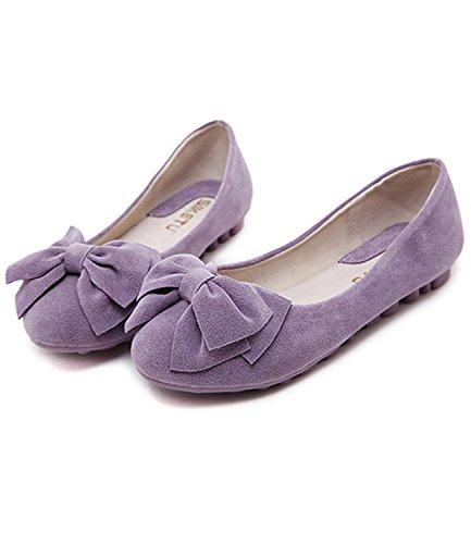 Minetom Mujer Primavera Otoño Dulce Estudiante Mocasines Punta Redonda Bowknot Bailarinas Zapatos Mocasín Morado
