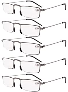c30da0dc14 Eyekepper 5-Pack Straight Thin Stamped Metal Frame Half-eye Style Reading  Glasses Readers…